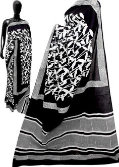 Elegant bagru Print Mulmul Cotton Sarees with matching blouse.