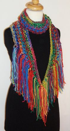 Rainbow Multicolored Women's Crochet Scarf  -- beautiful!   by LAinstitches