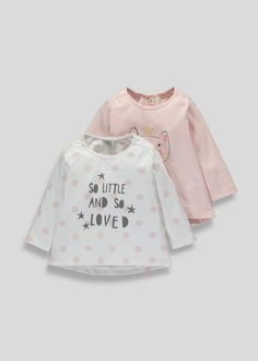 Girls two pack of tops including one pink top with cat face design and one white top with all over pink sketchy spot design and 'so little so loved'