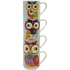 Owl mug set of 4