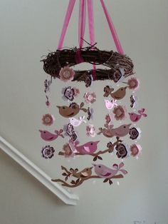 Bird Baby Mobile Penelope Pottery Barn Pinks and Brown