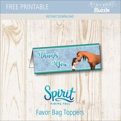 These free printable Spirit Riding Free favor bag toppers are perfect for making themed goody bags f Horse Party Decorations, Horse Party Favors, Kid Party Favors, Party Favor Bags, Loot Bags, Horse Theme Birthday Party, 7th Birthday Party Ideas, Fall Birthday, Birthday Kids