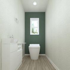 ホワイトとモスグリーンでシンプルにまとめました。清潔感のあるトイレです。 Toilet Tiles, Downstairs Toilet, Toilet Design, Green Rooms, Minimalist Bathroom, Vanity Cabinet, Japanese House, Powder Room, House Design