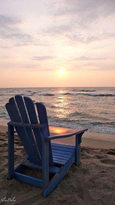 Sandy Beach with Blue Adirondack chair Ocean Quotes, Beach Quotes, Beach Bum, Ocean Beach, Ocean Sunset, Summer Beach, I Love The Beach, Beach Scenes, Beach Chairs