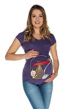 2d984b1efe14 Tshirt premaman Cicogna con scollo V viola XXL (XX-large) Abbigliamento  Premaman MY TUMMY ®©TM  Amazon.it  Prima infanzia
