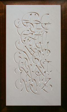 Nick Benson - Italic alphabet in limestone Caligraphy Alphabet, Calligraphy Letters, Typography Letters, Graphic Design Typography, Beautiful Lettering, Cool Lettering, Hand Lettering, Wildstyle, Album Design