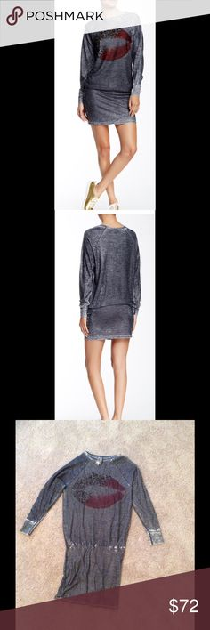 """NWOT Go Couture Drop Waist Dress Vintage washed, dark grey, long sleeves, crew neck, elasticized drop waist, burnout knit. About 37.5"""" length. Made in USA. 90% micro modal, 10% spandex. Machine wash cold. Fits true to size. Go Couture Dresses Mini"""