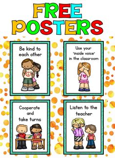 Classroom Rules Posters (FREE) - Classroom Management Please Preschool Classroom Rules, Classroom Rules Poster, Classroom Behavior, Free Preschool, Classroom Themes, Classroom Organization, Emotions Preschool, Classroom Community, Back To School Activities
