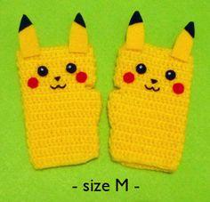 Crochet Fingerless Gloves Pikachu from Pokemon by DarmianiDesign, $39.00