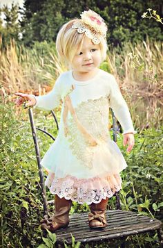 Dollcake Polly Ann Dress. Pair this adorable shabby chic dress our adorable brown bow boots. Girls Couture Brown Bow Boot. Infant 6 to Girls 13. These Boots are so chic and the perfect accessory to your little ones wardrobe.