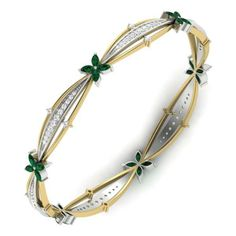 Bangles: Browse the wide range of Bangles with attractive designs. Shop fancy designs of Bangles from an online diamond jewelry store in India. Diamond Bangle, Diamond Jewelry, Gold Jewelry, Jewelery, Gold Bangles Design, Jewelry Design, Jewellery Sketches, Green Diamond, High Jewelry
