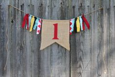 Custom Burlap Banner, Birthday Bunting Banner, Vintage Circus Party Theme, Birthday Photo Prop
