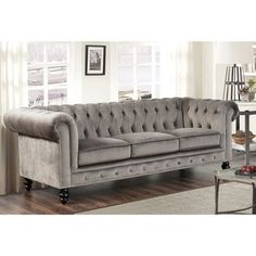 Abbyson Living Grand Chesterfield Grey Velvet Sofa | Overstock.com Shopping - The Best Deals on Sofas & Loveseats
