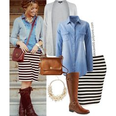 """""""Straight to Plus Size - Stripe Skirt and Cambray"""" by alexawebb on Polyvore"""