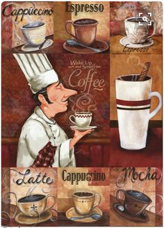 The Many Forms of Coffee Chef Kitchen Decor, Kitchen Art, Decoupage Vintage, Decoupage Paper, I Love Coffee, Coffee Break, Retro, Pause Café, Coffee Corner