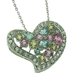 14K White Gold, Multi Color Sapphire Floating Heart Necklace