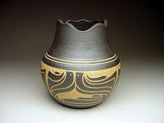 Black and Tan Wave Vase...