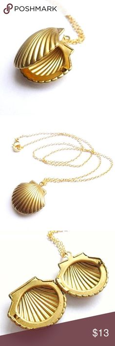 Seashell Locket Gold tone shell locket features a hinged opening and lobster claw clasp. Approx 20 inches long with 2 inch extender and pendant is approx 3/4 inch long and just under 1 inch wide.   All Pineapple.PalmBeach jewelry and hair pins come packaged on crisp white packaging and tucked carefully into white chiffon pouches ready for you or a friend to enjoy!   Bundle discount available!  🍍Suggested User! 🍍5 Star Rated Seller!  🍍Same or next day shipper! 🚫No trades! ❌No half price…