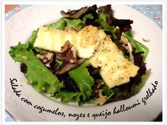 Salad with mushrooms, walnuts and grilled halloumi cheese