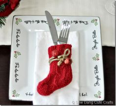 christmas stocking flatware holder