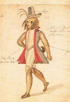 Costume design for a Dog Monster in the Ballet Délivrance de Renaud French Court Ballet 1621. Postcard