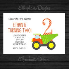 Dump Truck birthday party Invitation, simple, construction, first, second, 1st, 2nd, kids, boy, customizable invite, digital file, you print...