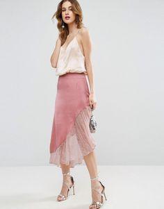 ed24149eb1 ASOS Satin Midi Skirt with Lace Hem - Pink Saia De Renda