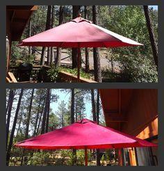 Quickie Umbrella Facelift - Don't throw it away - use Krylon Indoor/Outdoor Satin Spray Paint.