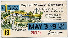 Capital Transit Weekly Pass Featured Glen Echo park (1936).