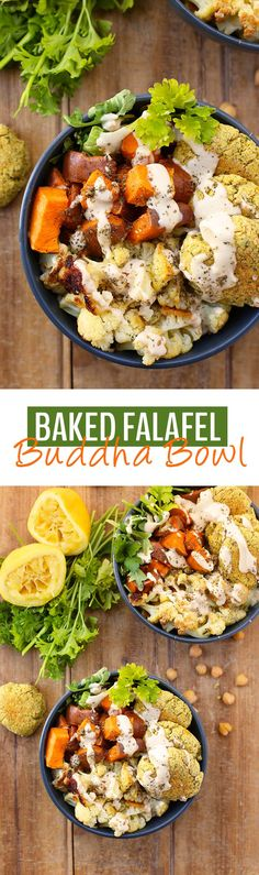 East meets West with these Baked Falafel Buddha Bowls! Made with quinoa, roasted vegetables, greens and of course, baked falafel this vegan and gluten-free recipe makes a complete meal in one. Vegan Dinner Recipes, Vegan Dinners, Whole Food Recipes, Vegetarian Recipes, Cooking Recipes, Healthy Recipes, Cooking Videos, The Healthy Maven, Menu Dieta
