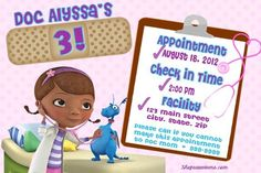 Doc Mcstuffins party invitations i like the way the information is written