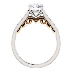 Sculptural Gallery Two Tone Engagement Ring LEANNE | 123081