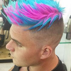 There's also a great turquoise only mohawk in this selection. Boys Colored Hair, Coloured Hair, Mens Hair Colour, Cool Hair Color, Short Textured Hair, Burgundy Hair, Maroon Hair, Haircut And Color, Hair Beauty