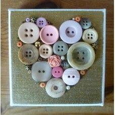 Button Art Vintage Heart