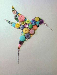 Button Hummingbird Button Art & Swarovski Crystal by BellePapiers Art Projects For Adults, Toddler Art Projects, Art Colibri, Hummingbird Art, Button Picture, Diy Buttons, Handmade Christmas Decorations, Button Crafts, Oeuvre D'art
