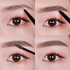 Draw correct and clear eyebrows with The Nice Forehead Fundam Korean Eyebrows, Korean Eye Makeup, Asian Makeup, Makeup Tips, Beauty Makeup, Hair Makeup, Makeup Style, Straight Eyebrows, Korean Makeup Tutorials