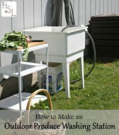 Keep the dirt from the garden harvest from getting into the kitchen with these steps to make an outdoor produce washing station.