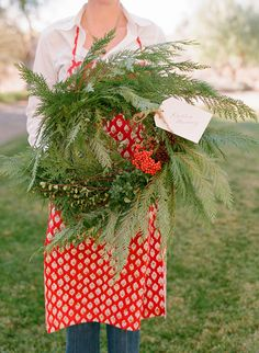 the fresh wreath, red apron, white blouse w/blue jeans, as well as, the wreath tag. Aussie Christmas, 12 Days Of Christmas, Country Christmas, Christmas Holidays, Christmas Wreaths, Christmas Decorations, Christmas Kitchen, Xmas, Christmas Blessings