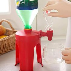 Drink Tool Mini Upside Down Drinking Fountains Cola Beverage Switch Drinkers Hand Pressure Water Dispenser Kitchen Bar For Home Tool Party, Soda Machines, Carbonated Drinks, Water Dispenser, Machine Tools, Glass Material, Bar, Beverages, Cool Stuff