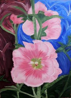Tami Baron - Pink Hollyhock - Oil on canvas board 12 x 16
