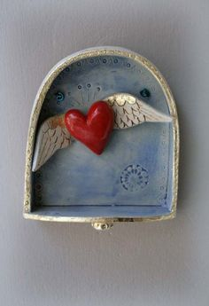 Heart Ornament red fluttering heart with wings by jolucksted, altar! Heart With Wings, I Love Heart, Happy Heart, Paperclay, Heart Ornament, Mexican Folk Art, Sacred Heart, Heart Art, Box Art