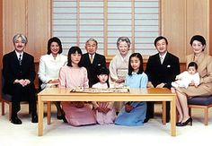 The Japanese Imperial Family.  Seated, from left: Prince Akishino, Crown Princess Masako, Emperor Akihito, Empress Michiko, Crown Prince Naruhito and Princess Kiko holding Prince Hisahito in her arms. Front row from left: Princess Mako, Princess Aiko and Princess Kako