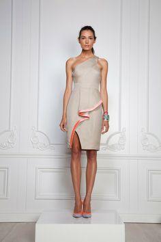 One shoulder tan asymmetrical peplum dress with tangerine accents. Rachel Roy Spring 2013 RTW.