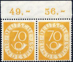 70 Pf. posthorn in the horizontal upper margin pair, mint never hinged superb (catalogue value: 1500 + + )    Dealer  Darmstädter stamp auction    Auction  Minimum Bid:  450.00EUR