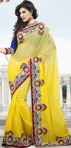 #Yellow Faux Georgette #Wedding #Saree Blouse | @ $152.71