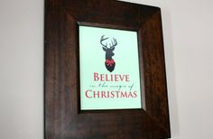 Rustic Christmas Deer Typography Wall Art 46% off at Groopdealz