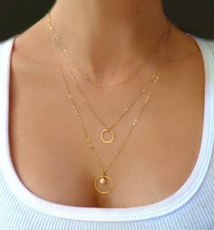 Image of Triple Layer Necklace - Tiered Multi Strand Necklace Gold or Silver