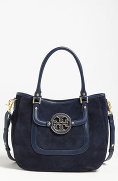 Tory Burch 'Amanda' Hobo in French Navy suede