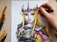 Drawing Princess Zelda from the Legend of Zelda - Hyrule Warriors - YouTube