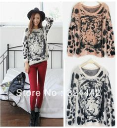 Free shipping! Women Fashion Batwing Tiger Knitted Sweater Leopard Jumper Pullover Knit Sweater promotion wholesale price